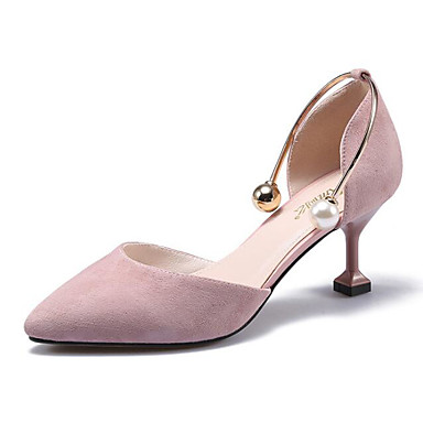 สำหรับผู้หญิง รองเท้าส้นสูง ส้น Stiletto หนังแกะ ฤดูร้อนฤดูใบไม้ผลิ สีดำ / Almond / สีชมพู / ทุกวัน