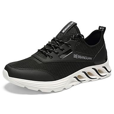 สำหรับผู้ชาย รองเท้าสบาย ๆ ตารางไขว้ / PU ฤดูใบไม้ผลิ Sporty รองเท้ากีฬา สำหรับวิ่ง ไม่ลื่นไถล สีดำ / สีดำ / สีแดง / ขาว / การกรีฑา