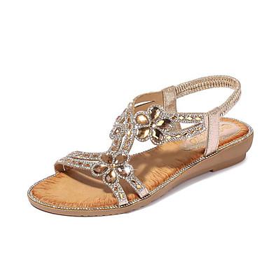 cheap Women's Sandals-Women's Sandals Glitter Crystal Sequined Jeweled Flat Sandals Summer Flat Heel Open Toe Sweet Daily Beach Rhinestone Solid Colored PU Walking Shoes Black / Pink / Gold / Boho / Beach