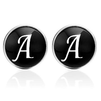 voordelige Herensieraden-Manchetknopen Alfabetvorm Nette kleding Koreaans Broche Sieraden Zwart Zilver Bruin Voor Uitgaan mielitietty