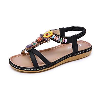 สำหรับผู้หญิง รองเท้าแตะ ส้นแบน ปลายกลม หินประกาย PU ไม่เป็นทางการ / หวาน ฤดูร้อนฤดูใบไม้ผลิ สีดำ / Almond / ฟ้า
