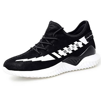 สำหรับผู้ชาย รองเท้าสบาย ๆ Microfibre ฤดูใบไม้ร่วง & ฤดูหนาว รองเท้ากีฬา สำหรับวิ่ง สีดำและสีขาว / สีดำ / สีแดง