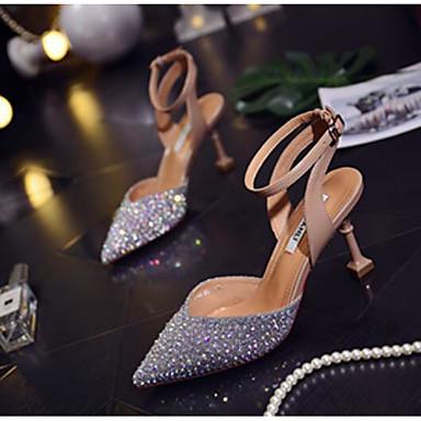 สำหรับผู้หญิง รองเท้าแตะ ส้น Stiletto Synthetics ฤดูร้อน สีเทาเข้ม / สีเงิน / สีชมพู