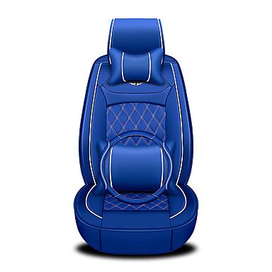 billige Interiørtilbehør til bilen-Forsiden bakside Universalt bilsete dekker nakkestøtter og taljepute sett. Tilbehør til luksusbiler til universell / polyester / skinn / bomull