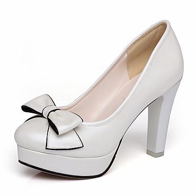สำหรับผู้หญิง รองเท้าส้นสูง ส้นหนา ปลายกลม PU คลาสสิก / minimalism ฤดูใบไม้ผลิ & ฤดูใบไม้ร่วง สีดำ / สีเทาเข้ม / ขาว / พรรคและเย็น / ทุกวัน / พรรคและเย็น