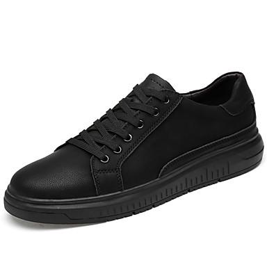 สำหรับผู้ชาย รองเท้าหนัง หนัง ตก / ฤดูร้อนฤดูใบไม้ผลิ Sporty / Preppy รองเท้าผ้าใบ ไม่ลื่นไถล ลายบล็อคสี สีดำ / การกรีฑา / รองเท้าสบาย ๆ