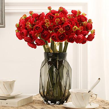 ดอกไม้ประดิษฐ์ 6 สาขา คลาสสิก เกี่ยวกับยุโรป ดอกไม้สำหรับงานแต่งงาน Camellia ดอกไม้นิรันดร์ ดอกไม้วางบนโต๊ะ