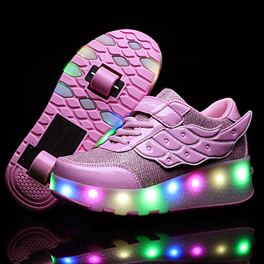 cheap New Arrivals-Boys' / Girls' Sneakers USB Charging PU Heelys Shoes Little Kids(4-7ys) / Big Kids(7years +) Walking Shoes Sequin Pink / Gold / Silver Spring / Fall / TPR (Thermoplastic Rubber)