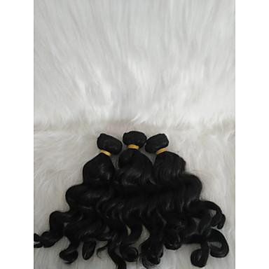 povoljno Ekstenzije za kosu-Kosa koja se plete Kovrčav tkati Ljudska kosa 3 komada Sušilo za pletenice Crna 14 inch 14 inča Žene proširenje Youth Škola Festival Malezijska kosa