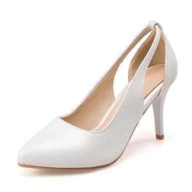 สำหรับผู้หญิง รองเท้าส้นสูง ส้น Stiletto Pointed Toe PU คลาสสิก / minimalism ฤดูใบไม้ผลิ & ฤดูใบไม้ร่วง ขาว / สีชมพู / เงิน / พรรคและเย็น / พรรคและเย็น