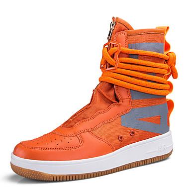 สำหรับผู้ชาย Fashion Boots ผ้าใบ ตก / ฤดูร้อนฤดูใบไม้ผลิ Sporty / ไม่เป็นทางการ รองเท้าผ้าใบ วสำหรับเดิน ระบายอากาศ คำขวัญ สีดำ / ขาว / ส้ม / กลางแจ้ง