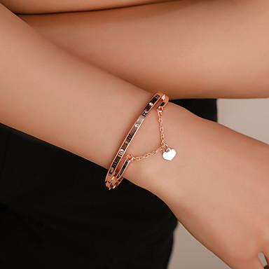 สำหรับผู้หญิง กำไล Pendant Bracelet คลาสสิค หมายเลข ลายตัวอักษร ง่าย เกี่ยวกับยุโรป ลำลอง / สปอร์ต หวาน พลอยเทียม สร้อยข้อมือเครื่องประดับ สีทอง / สีเงิน / Rose Gold สำหรับ ทุกวัน Street