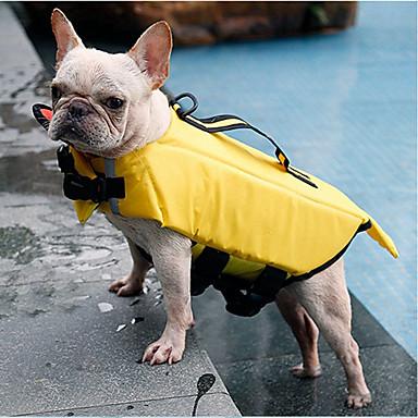 สุนัข แมว เสื้อชูชีพ Dog Clothes สีเหลือง สีเทา เครื่องแต่งกาย Husky สุนัข Labrador Alaskan Malamute Terylene ไนล่อน PVA สีพื้น กันน้ำ กีฬา S M L XL