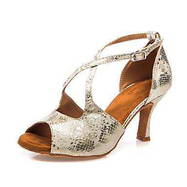 สำหรับผู้หญิง รองเท้าเต้นรำ หนังเทียม ลาติน หัวเข็มขัด ส้น ส้นสูงบาง สีเหลืองอ่อน / เสือดาว / น้ำตาลเข้ม / Performance / หนังสัตว์