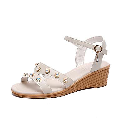 levne Dámské sandály-Dámské PU Léto Na běžné nošení Sandály Klínový podpatek Imitace perel Béžová / Modrá