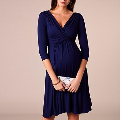 baratos Roupas para Gestantes-Mulheres Delgado Camisa Vestido Decote V Altura dos Joelhos