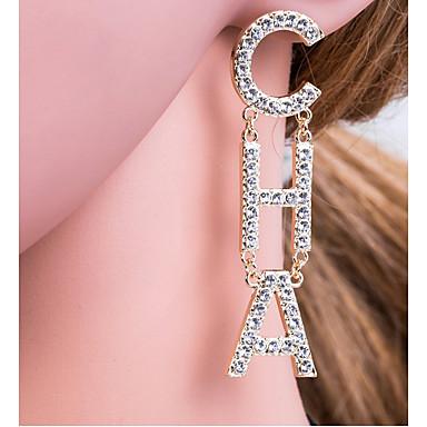 levne Dámské šperky-Dámské Stříbrná Zlatá Visací náušnice Alphabet Shape Písmeno Evropský Elegantní počáteční šperky Pozlacené Umělé diamanty Náušnice Šperky Zlatá / Stříbrná Pro Denní 1 Pair