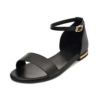 สำหรับผู้หญิง รองเท้าแตะ ส้นแบน เปิดนิ้ว หัวเข็มขัด หนัง หวาน / minimalism ฤดูใบไม้ผลิ & ฤดูใบไม้ร่วง / ฤดูร้อนฤดูใบไม้ผลิ สีดำ / ขาว / สีทอง