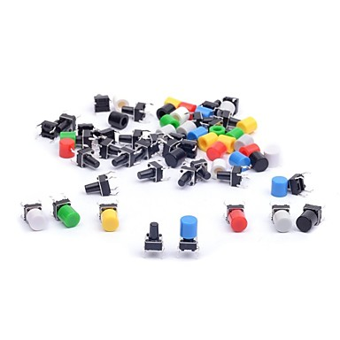 cheap Electrical Equipment & Supplies-6*6*9mm Tactile Tact Push Button Switch Micro Switch Touch Switch with Button Caps of  for Arduino (Pack of 35)
