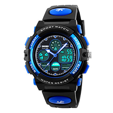 cheap Women's Digital Watches-SKMEI Sport Watch Digital Watch Quartz Quilted PU Leather Black 30 m Water Resistant / Waterproof Alarm Calendar / date / day Analog - Digital Fashion for Kids - Yellow Red Blue Two Years Battery Life