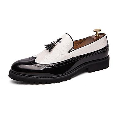 สำหรับผู้ชาย Novelty Shoes หนังสัตว์ / หนังเทียม ฤดูร้อนฤดูใบไม้ผลิ ไม่เป็นทางการ รองเท้าส้นเตี้ยทำมาจากหนังและรองเท้าสวมแบบไม่มีเชือก ระบายอากาศ ลายบล็อคสี สีดำ / ขาว / พู่ / พรรคและเย็น / พู่
