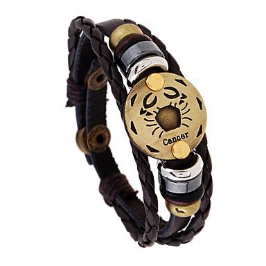 levne Pánské šperky-Pánské Klasické Náramky Pletený Rakovina Punk Kožené Náramek šperky Kávová Pro Dar Denní