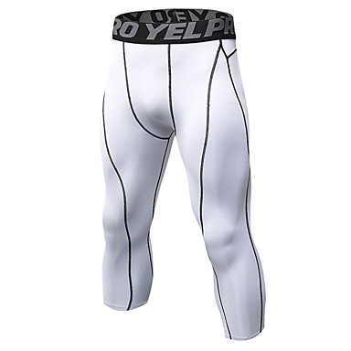 cheap Exercise, Fitness & Yoga-YUERLIAN Men's Running Compression Pants Athletic 3/4 Tights Base Layer Leggings Cropped Spandex Winter Fitness Gym Workout Running Jogging Training Breathable Quick Dry Soft Sport White Black Gray
