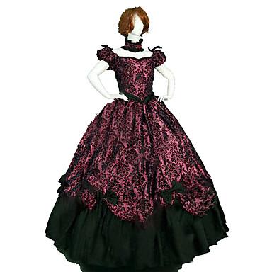 เจ้าหญิง Rococo Victorian หนึ่งชิ้น ชุดเดรส Party Costume เครื่องแต่งกาย สำหรับผู้หญิง ฝ้าย เครื่องแต่งกาย สีแดง Vintage คอสเพลย์ เสื้อผ้าที่สวมไปงานเต้นรำสวมหน้ากาก พรรคและเย็น เสื้อไม่มีแขน