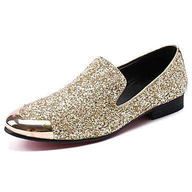 สำหรับผู้ชาย ใส่รองเท้า แน๊บป้า Leather ฤดูใบไม้ผลิ / ตก ไม่เป็นทางการ / อังกฤษ รองเท้าส้นเตี้ยทำมาจากหนังและรองเท้าสวมแบบไม่มีเชือก ไม่ลื่นไถล สีทอง / พรรคและเย็น / พรรคและเย็น / สไตล์อินเดียนแดง