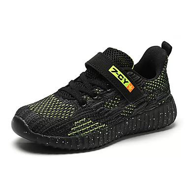 เด็กผู้ชาย ความสะดวกสบาย ผ้ายืดหยุ่น / Flyknit รองเท้ากีฬา เด็กน้อย (4-7ys) / Big Kids (7 ปี +) สำหรับวิ่ง สีดำ / สีเขียว / น้ำเงินเข้ม ฤดูร้อน / ลายบล็อคสี