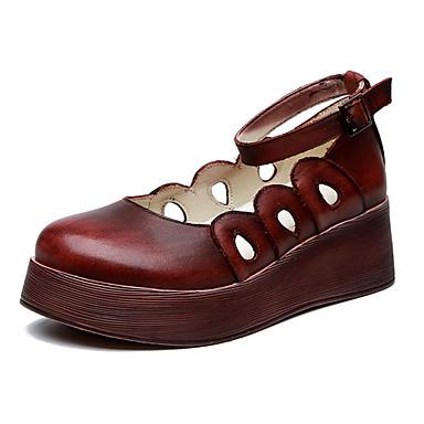 สำหรับผู้หญิง รองเท้าส้นเตี้ยทำมาจากหนังและรองเท้าสวมแบบไม่มีเชือก รองเท้าบู้ทส้นเตารีด ปลายกลม หัวเข็มขัด Synthetic Microfiber PU ไม่เป็นทางการ ฤดูร้อน สีดำ / สีแดงเบอร์กันดี / ทุกวัน