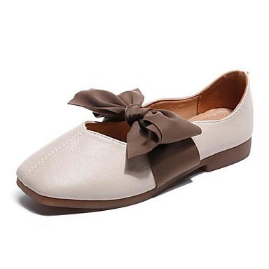 สำหรับผู้หญิง รองเท้าส้นเตี้ยทำมาจากหนังและรองเท้าสวมแบบไม่มีเชือก ส้นต่ำ PU ฤดูใบไม้ผลิ Almond / ผ้าขนสัตว์สีธรรมชาติ / ทุกวัน