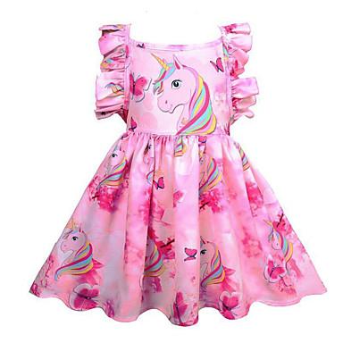 preiswerte Angebote zu Ostern-Kinder Mädchen nette Art Ausgehen Unicorn Regenbogen Ärmellos Knielang Kleid Rosa