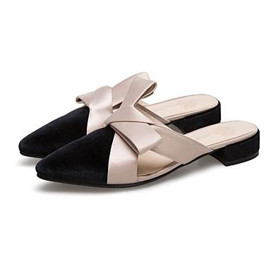 สำหรับผู้หญิง รองเท้าไม้ & รองเท้าหัวทู่ ส้นแบน ปมผ้า PU ฤดูใบไม้ผลิ สีดำ / สีเทา
