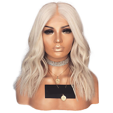 cheap Synthetic Lace Wigs-Synthetic Lace Front Wig Wavy Middle Part Lace Front Wig Blonde Short Platinum Blonde Synthetic Hair 14 inch Women's Adjustable Heat Resistant Women Blonde