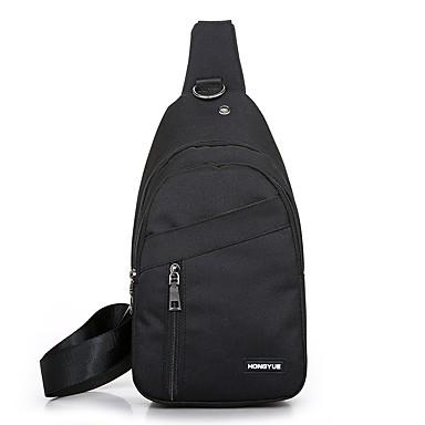 สำหรับผู้ชาย ซิป ผ้าใบ กระเป๋าสะพายสลิง สีดำ / สีเทา / สีเทาเข้ม