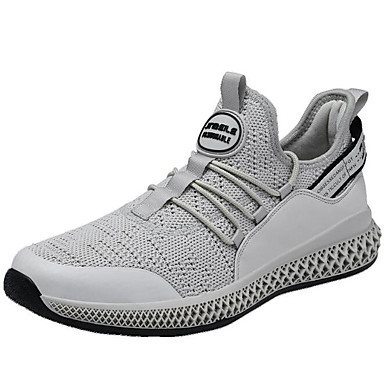 สำหรับผู้ชาย รองเท้าสบาย ๆ Tissage Volant ฤดูใบไม้ผลิ รองเท้ากีฬา สำหรับวิ่ง สีดำ / ขาวและเงิน / สีเทา