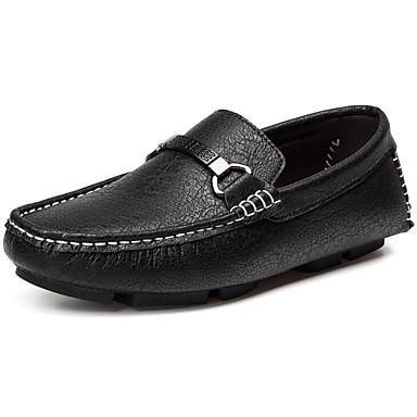 สำหรับผู้ชาย สไตล์อินเดียนแดง Microfibre ฤดูใบไม้ผลิ รองเท้าส้นเตี้ยทำมาจากหนังและรองเท้าสวมแบบไม่มีเชือก สีดำ / ขาว / แดง