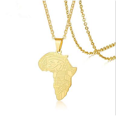 levne Pánské šperky-Pánské Náhrdelníky s přívěšky Klasika Mapy Módní Titanová ocel Zlatá 50 cm Náhrdelníky Šperky 1ks Pro Dar Denní