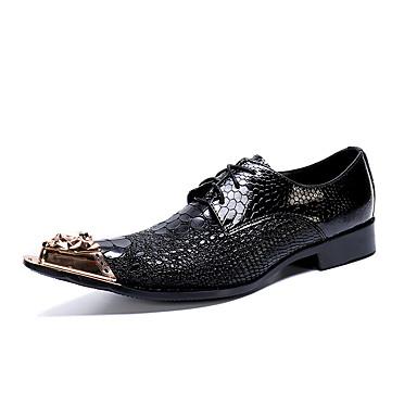 สำหรับผู้ชาย Novelty Shoes แน๊บป้า Leather ฤดูใบไม้ผลิ / ตก ไม่เป็นทางการ / อังกฤษ รองเท้า Oxfords ไม่ลื่นไถล สีดำ / พรรคและเย็น / พรรคและเย็น / ใส่รองเท้า