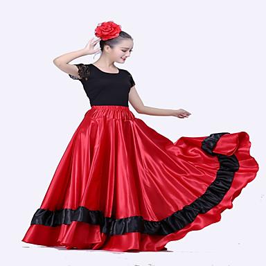 ชุดเต้นละติน ด้านล่าง / ฟลาเมงโก้ สำหรับผู้หญิง Performance ซาตินด้าน ขวิด ธรรมชาติ กระโปรง