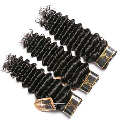 3 Bundles / กลุ่ม ผมบราซิล เป็นลอนคลื่น 100% Remy Hair Weave Bundles มนุษย์ผมสาน มัดผม ผมต่อแท้ 8-28 inch สีธรรมชาติ สานเส้นผมมนุษย์ Odor Free Creative อย่างผ้าไหม ส่วนขยายของผมมนุษย์