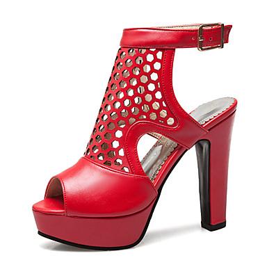 สำหรับผู้หญิง PU ฤดูร้อนฤดูใบไม้ผลิ คลาสสิก / อังกฤษ รองเท้าแตะ ส้นหนา ที่สวมนิ้วเท้า สีดำ / สีเหลือง / แดง / พรรคและเย็น