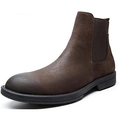 สำหรับผู้ชาย รองเท้าสบาย ๆ แน๊บป้า Leather ฤดูใบไม้ร่วง & ฤดูหนาว บูท บู้ทสูงระดับกลาง สีดำ / สีน้ำตาล / รองเท้าคอมแบท