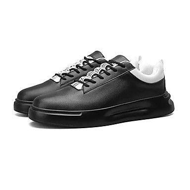สำหรับผู้ชาย รองเท้าสบาย ๆ PU ฤดูใบไม้ผลิ ไม่เป็นทางการ รองเท้าผ้าใบ วสำหรับเดิน ระบายอากาศ สีดำ / ขาว / การกรีฑา
