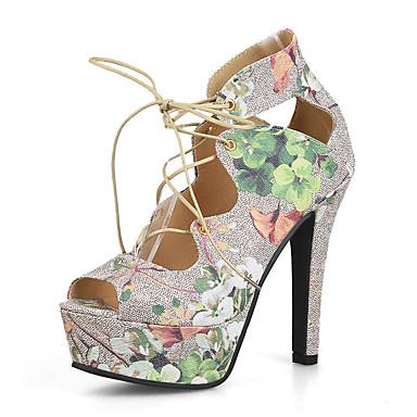 สำหรับผู้หญิง รองเท้าแตะ ส้น Stiletto ที่สวมนิ้วเท้า PU วินเทจ / อังกฤษ ฤดูร้อน สีเขียว / สีชมพู / พรรคและเย็น / พรรคและเย็น
