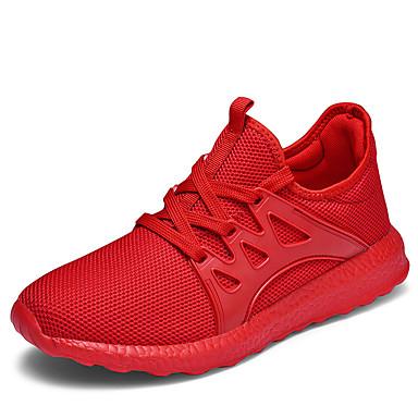 สำหรับผู้ชาย รองเท้าสบาย ๆ ผ้ายืดหยุ่น ฤดูร้อนฤดูใบไม้ผลิ Sporty / ไม่เป็นทางการ รองเท้ากีฬา สำหรับวิ่ง ระบายอากาศ สีดำ / สีดำและสีขาว / แดง / ช็อตดูดซับ