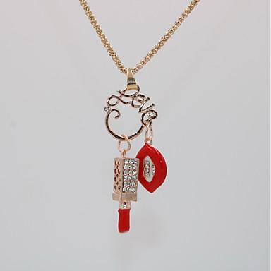 povoljno Modne ogrlice-Žene Ogrlice s privjeskom Izjava Ogrlice Ogrlica Klasičan Usne Statement Jedinstven dizajn pomodan Moda Krom Pozlata od crvenog zlata Crvena 70 cm Ogrlice Jewelry 1pc Za Karneval Praznik Kamado