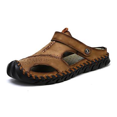 สำหรับผู้ชาย รองเท้าหนัง แน๊บป้า Leather ฤดูร้อน Sporty / ไม่เป็นทางการ รองเท้าแตะ เดินป่า / วสำหรับเดิน ระบายอากาศ สีดำ / สีน้ำตาล / สีกากี / กลางแจ้ง