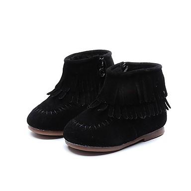preiswerte Schuhe für Kinder-Mädchen Komfort Wildleder Stiefel Kleinkind (9m-4ys) / Kleine Kinder (4-7 Jahre) Schwarz / Rot / Khaki Winter / Booties / Stiefeletten
